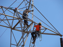 Fall protection field trials (Western Area Power Admin) Tags: california sierranevada ibew pacificgaselectric transmissionlines fallprotection sacramentomunicipalutilitydistrict bonnevillepoweradministration occupationalsafetyandhealthadministration transmissionmaintenance