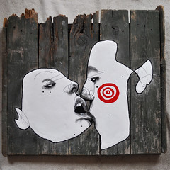 To drink from your lips... (id-iom) Tags: street wood uk urban streetart man london art love girl face wall lady graffiti cool eyes kiss paint head arts brixton acrylicpaint womble filler idiom paintmarker polyfila