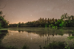 Grandes Espejos (emiliokuffer) Tags: claro sky lake reflection night forest stars lago mirror noche big space clear hidden bosque espejo estrellas laguna ciello regionwide