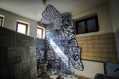 Paper on Wall (Time) (natureculturelife) Tags: street art up paper paste toilet klo ncl