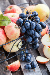Apples and grape (Katty-S) Tags: autumn fall apple fruits fruit table harvest apples grape