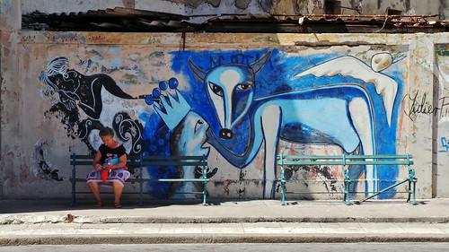 Cuba - Havana Mural - Mar 2014 - Candid Smoking Woman