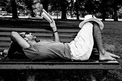 Relaxt reading (Dick Verton) Tags: reading book vondelpark bankje