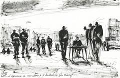 L'Apparence de recensement (la Mairie). Camps d'Austerlitz (Laura Genz) Tags: migrant migrants réfugié réfugiés refugee refugees campement camp paris france 2015 afrique africa soudan sudan erythrée erythrea libye libya dessin drawing sketch ink austerlitz quaidausterlitz citédelamodeetdudesign police