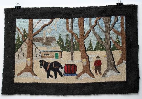 American Maple Sugar Camp Pictorial Hooked Rug ($224.00)