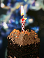 Celebrating 10 Years! ¸.•*´¨`*•.¸¸..☆*' .*☆. (Through Serena's Lens) Tags: mm macromondays happy10years anniversary cake doublechocolate bokeh candle flame dof macro food celebration party delectable delicious 7dwf