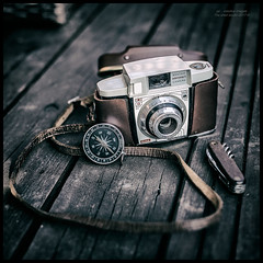 Lets plan an Adventure... (kirby126) Tags: camera compass penknife wood adventure washed out canon6d 50mm