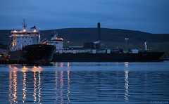 Clipper Group MVs Hildasay, IMO 9119426, and Helliar, IMO 9119397; Lerwick, Shetland Islands (Michael Leek Photography) Tags: ship night harbour michaelleek vessel merchantship merchantnavy merchantships merchantvessel freighters motorvessel michaelleekphotography reflections lights lowlight lerwick shetland shetlandisland shetlandislands shetlands water bressaysound boat workingboat roro clippergroup northlinkferries northlink douglas isleofman