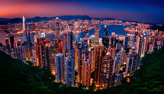 Hong Kong Bay (albertocc311) Tags: summer colorful landscape asia magichour kowloon hongkong buildings skyscrapper 2016 travel victoriapeak sea
