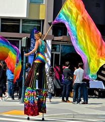 2017, Bayview, Dogpatch, San Francisco Sunday Streets, Third Street, stilts, woman, flag waver, (David McSpadden) Tags: 2017 bayview dogpatch flagwaver sanfranciscosundaystreets stilts thirdstreet woman