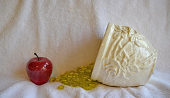An Apple A Day, or A Pot of Gold? (BKHagar *Kim*) Tags: bkhagar apple pot gold paperweight marble red estate estatesale thrift finds white potofgold glass pottery