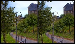 Blankenburg Castle 3-D / CrossView / Stereoscopy / HDR / Raw (Stereotron) Tags: sachsenanhalt saxonyanhalt ostfalen harz mountains gebirge ostfalia hardt hart hercynia harzgau blankenburg crosseye crosseyed crossview xview cross eye pair freeview sidebyside sbs kreuzblick 3d 3dphoto 3dstereo 3rddimension spatial stereo stereo3d stereophoto stereophotography stereoscopic stereoscopy stereotron threedimensional stereoview stereophotomaker stereophotograph 3dpicture 3dglasses 3dimage twin canon eos 550d yongnuo radio transmitter remote control synchron kitlens 1855mm tonemapping hdr hdri raw