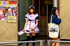 At Shibuya Center Street : 渋谷センター街にて (Dakiny) Tags: 2017 spring april japan tokyo shibuya shibuyacenterstreet city street people portrait woman girl maid nikon d7000 sigma 1770mm f284 dc macro os hsm sigma1770mmf284dcmacrooshsm nikonclubit