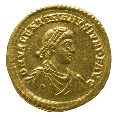 Solidus of Valentinian II, emperor of Rome (Historystack) Tags: deaths romanempire romanemperors historyoffrance historyofitaly ancientrome government earth europe 4thcentury may15 solarsystem valentinianii vienne year392 390s milkyway