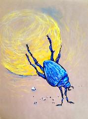 1844_1 (Мария Юрист) Tags: 365 illustration иллюстрация животные насекомые insects animals brushpen ручкакисть брашпен художка пастель blue синий