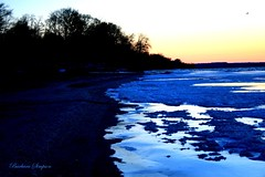 The Blues of Lake Ontario (barbarasimpson_photography) Tags: lakeontario sunsets blue orange red calm tranquil water sky portdalhousie ontario canada