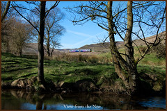 View from the Noe (Resilient741) Tags: class 142 northern rail railways br british trains train dmu diesel multiple unit noe river peak district kinder scout edale hope valley tree mountains hills landscape