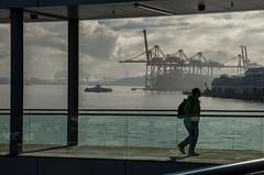 Lone Commuter (Sworldguy) Tags: vancouver terminal seaplane port pedestrian commuter travel seabus coalharbour portofvancouver harbour dock downtown streetphotography