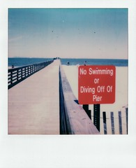 No (thereisnocat) Tags: impossibleproject beta beta30color sx70 polaroid beach pier sign portmonmouth middletown monmouthcounty newjersey nj