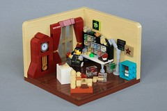 Out of Time (jsnyder002) Tags: lego moc creation interiormodel build grandfather clock design curtains sorting containers abs room