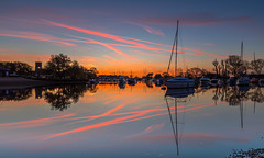 Quay Dawn (nicklucas2) Tags: quay christchurch river stour dawn reflection water contrail yacht boat priory dorset