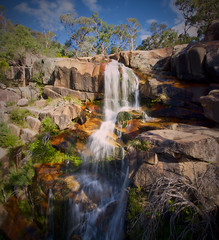 Gibraltar Falls (RobMacPhotography) Tags: landscapes gibraltar falls water fall creek rocks trees blue sky red canberra act australia panorama sony a6000 rob mac photography gorge ravine
