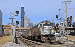 Shoving into the yard (GLC 392) Tags: hoosier state iowa pacific holding company down town downtown chicago il illinois hour passenger train emd gp40fh2 4144 4135 ic central union station sears tower willis clouds sky railroad railway slrg skyline city signals