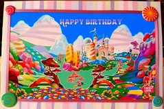 Birthday Card (front complete) (Hobbycorner) Tags: creative creativity fun art candy stickers sticko project projects candyland birthday card cards hallmark craft crafting gumdrop mountains magical sweets hobby loctite scotch