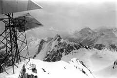 04a3871 23 (ndpa / s. lundeen, archivist) Tags: nick dewolf nickdewolf bw blackwhite photographbynickdewolf film monochrome blackandwhite april 1971 1970s 35mm austria austrian stanton stantonamarlberg tyroleanalps tyrol skitrip skiingtrip alps mountains snow snowcovered slopes skiing skislopes skiresort skiarea tirol alpine view landscape antenna antennas
