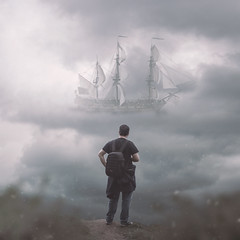 Following Others (GideonAJWay) Tags: 52week project pirate ship clouds distant idea conceptual dream photoshop manipulation friends nikon 35mm fake surreal passion story