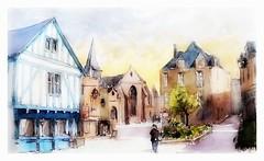 Guerande - Pays de Loire - France (guymoll) Tags: guerande paysdeloire france colombages watercolour watercolor aquarelle aguarelle village