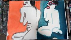 Ganz friedlich sind wir am Strand gesessen (raumoberbayern) Tags: malerei painting acrylic acryl sketchbook skizzenblock robbbilder orange blue blau akt