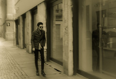 RETRO (Loris G.) Tags: street seppia man candid reflection