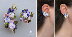 "Floral ear cuff and stud ""Garden in Provence"" (JS jewelry) Tags: flowers floral rose miniature lavender clay ear hydrangea bouquet earrings cuff elegant polymer earcuff"