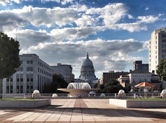Madison Monona Terrace view (Digital_Third_Eye) Tags: usa sun water fountain wisconsin clouds canon outdoors flickr cloudy capital september sept hdr mononaterrace 2014 18135stm