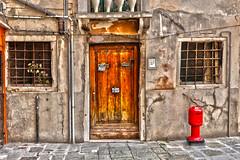 Ancient Door (Hans van der Boom) Tags: europe europa italië italy venezia venetië venice vacation door hdr ancient old window hydrant res splash number 1855 brown stone veneto it herowinner pregamewinner perpetualwinner