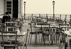 End of season (pootlepod) Tags: street autumn summer blackandwhite food monochrome last happy photography restaurant pier seaside cafe couple eating tables stphotographia