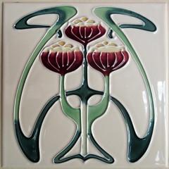 Art Nouveau red flower ceramic tile (Monceau) Tags: red flower tile ceramic artnouveau stylized cimetiredumontparnasse
