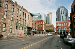 City Streets (TnOlyShooter) Tags: street film 35mm nashville tennessee broadway om1 kodakportra400