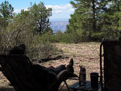 Relax and Enjoy (zoniedude1) Tags: camping arizona southwest nature landscape outdoors solitude quiet peace view grandcanyon relaxing adventure vista remote wilderness exploration campsite chillaxing northrim selfie kaibabnationalforest thebighole kaibabplateau outdoorliving northkaibab canyonview relaxandenjoy canyonscape timppoint zoniedude1 canonpowershotg12 7600ftelevation rimedge northrim2014