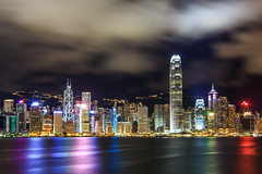 (Jaredm2525) Tags: ocean china longexposure travel vacation sky architecture modern night clouds buildings landscape hongkong lights asia scenic wideangle foreign kowloon