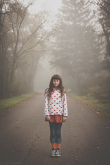 Foggy Morning (Kilkennycat) Tags: road morning autumn portrait orange fall fog forest canon children child foggy polkadots 500d kilkennycat 40mm28 t1i ryanconners