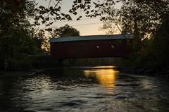 DSC_0059 (Michael P Bartlett) Tags: bridge sunset water arlington river vermont coveredbridge arlingtongreencoveredbridge