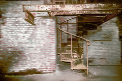 Stones, stairs and scrap (PLANETODAY (www.claude-lustier.artistwebsites.com)) Tags: old house abstract building brick abandoned industry metal wall architecture fence construction ancient stair industrial decay steel destruction interior room digitalart ruin rusty demolition structure dirty stairway creepy step staircase damage handrail inside railing desolate scrap footstep