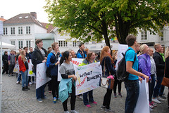 Elevene på Solborg folkehøgskole i demokrati-tog