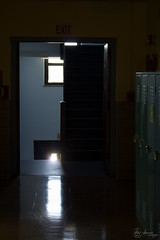 Down the Hall to the Left (SerpaDesign) Tags: school light reflection lockers dark hall doors bright dramatic shining tannerserpa serpadesign halwway