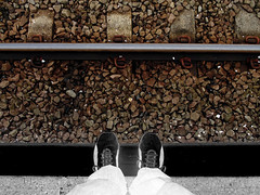 Negative thoughts. (SimonTHGolfer) Tags: art feet train person sony fineart suicide tracks cybershot minimal negative thoughts depression statement minimalism inverted minimalist dsc ballast fineartphotography bipolar sleepers trainline h200 flickrandroidapp:filter=none