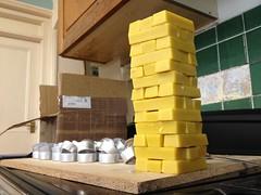 Some fun playing beeswax Jenga before tealight making...