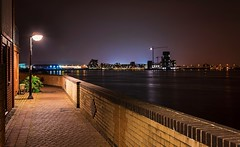 Cardiff Nightscape (technodean2000) Tags: uk sea water lamp wales night buildings dark post crane south cardiff scape penarth lightroom photoscape