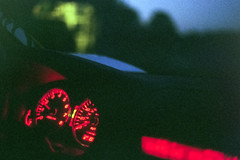 late night hot box. (Dakota Olsen) Tags: trees light red sky hot film nature beautiful car night analog 35mm canon vintage lights cool friend warm with bright ae1 bokeh box low fine grain late dope lowkey tones somewhat